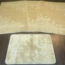ROMANY GYPSY WASHABLES SET OF TOURER SIZES 67X110CM MATS-RUGS ROSE LIGHT BEIGE